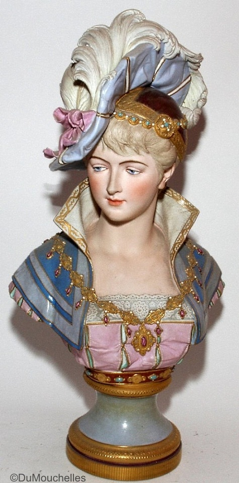 03a Paul Duboy lady bust with plumed hat in blue