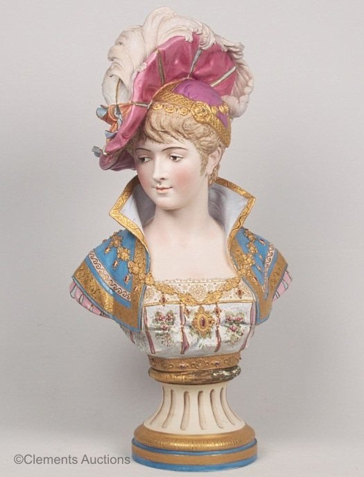 03b Paul Duboy lady bust with plumed hat in blue and mauve