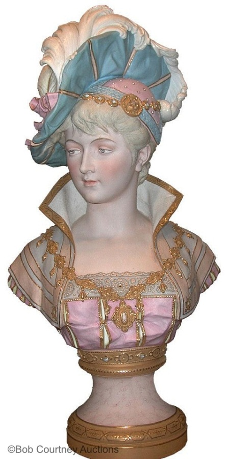 03c Paul Duboy lady bust with plumed hat in pink and blue