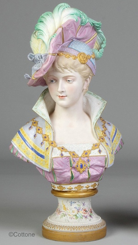 03d Paul Duboy lady bust with plumed hat in pastels and floral decorated base
