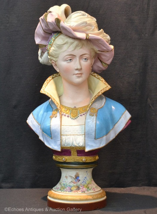04a Paul Duboy lady bust with plumed hat and decorated base