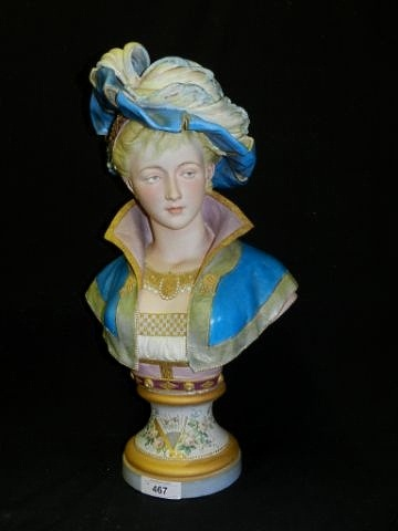 04c Paul Duboy lady bust with plumed hat in blue
