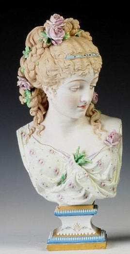 05b Paul Duboy lady bust with flowers in hair pink