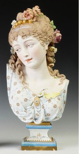 06b Paul Duboy lady bust with floral ringlets
