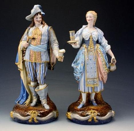 12 Paul Duboy cavalier and waitress figures