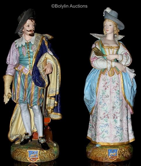 13a Paul Duboy Elizabethan couple on heraldic base