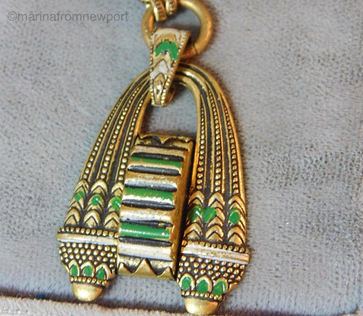 1930s Egyptian Revival green and white pendant detail 1