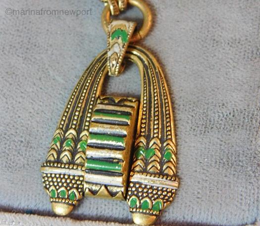 1930s Egyptian Revival green and white pendant detail 1