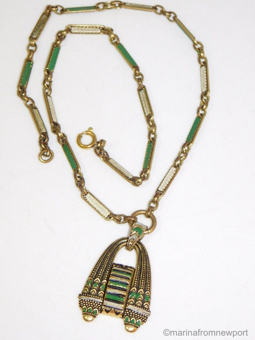 1930s Egyptian Revival green and white pendant necklace