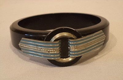 black bakelite bangle with blue on silver tabs 1930s art deco bracelet