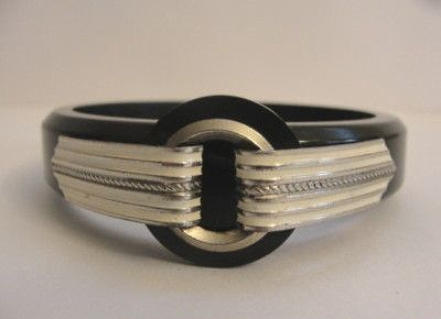 black bakelite bangle with white on silver tabs 1930s art deco bracelet