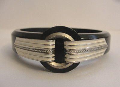 black bakelite bangle with white on silver tabs 1930s art deco bracelet