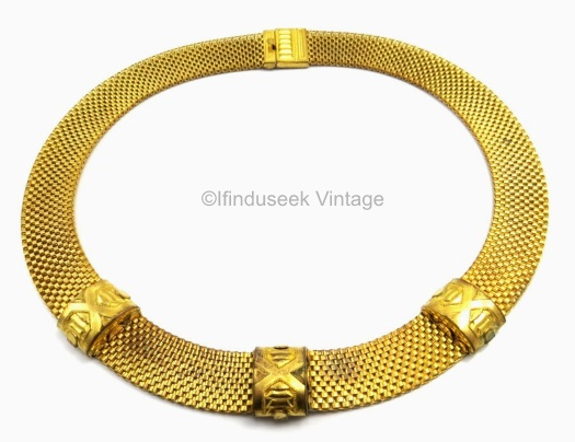brass mesh 1930s choker with ribbed X stations