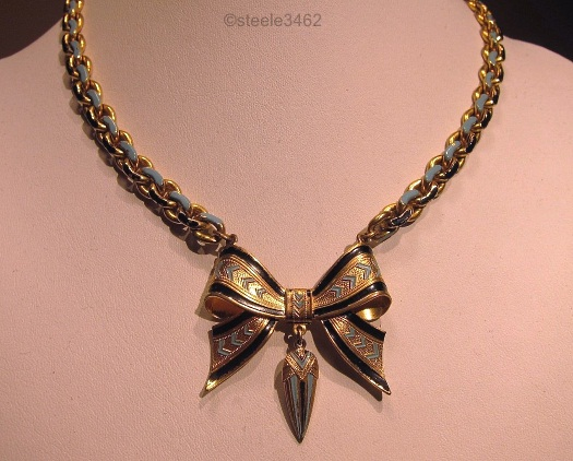 large bow necklace blue and black enamel on link chain 1930s deco
