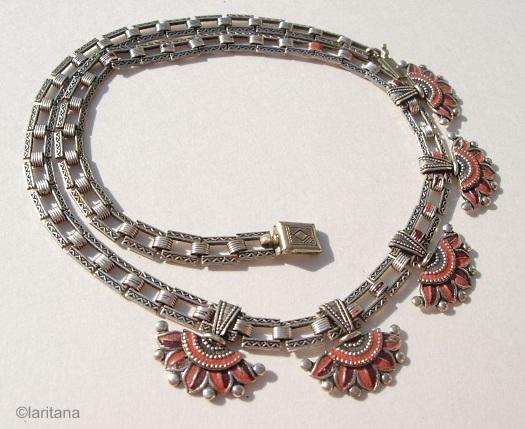 lotus flower Egyptian revival enamel 1930s necklace