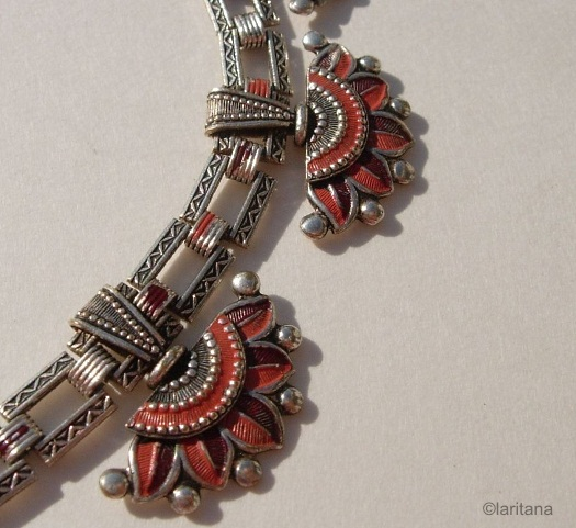 lotus flower necklace red pink on silvertone detail