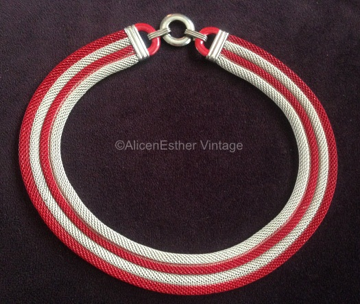 red and white mesh necklace art deco 1930s