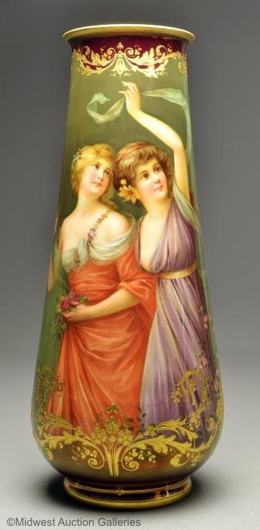 Wagner KPM vase of two women