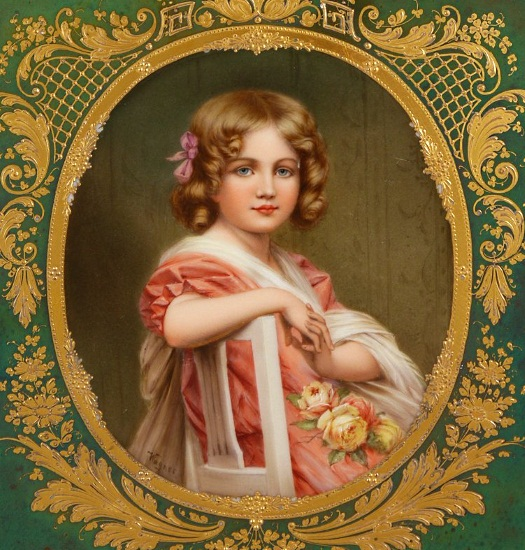Wagner child portrait Royal Vienna tray detail