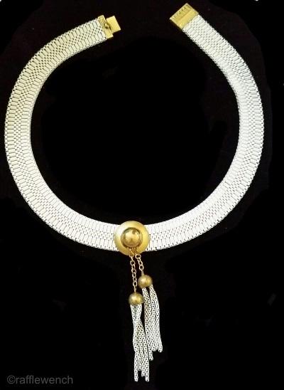 white enamel mesh choker with dangles 1930s art deco necklace