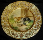 Royal Vienna cabinet plate cats and mouse
