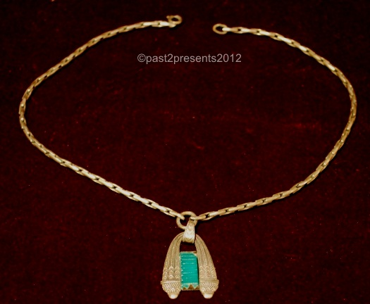 art deco brass pendant in Sumerian or Egyptian style with ribbed glass insert