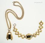 brass and black glass art deco necklace bracelet set customized for sorority