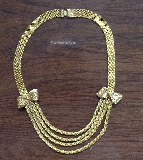 brass mesh and rope chains necklace with two bows