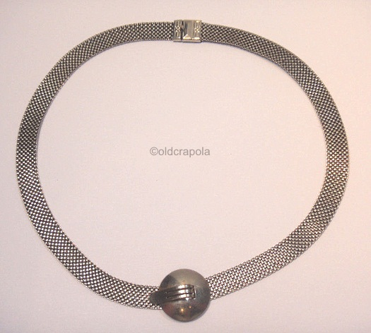 mesh necklace with dome and tab art deco 1930s