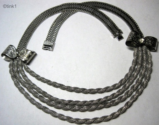 silvertone mesh and twisted rope necklace with bows art deco